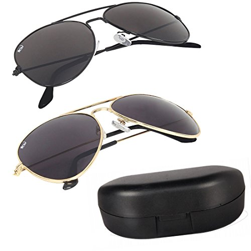 Elligator Combo Of 2 Aviator Unisex Sunglasses - (Avblk-Goldblk-Box-Sg|Black)