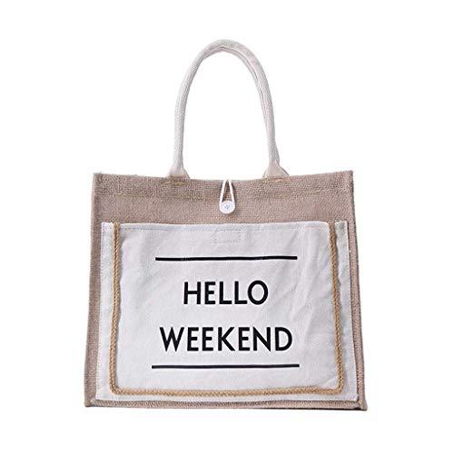 Calvinbi Canvas Tote Leinwand Shopper Schultasche Leinen Rattan Tasche Einfach Handtasche Umhängetasche Messenger Bag Vintage Retro Weekend