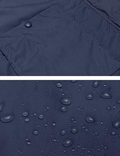Tomasa Damen Übergangsjacke Kapuzenjacke lange Hülse Freizeitjacke wasserdichte Regenmantel-Jacke mit Minitasche Navy-Blau