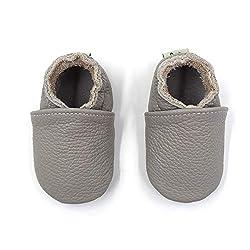 Hiwalker Babyschuhe Weicher Leder Krabbelschuhe Kleinkind Lauflernschuhe Hausschuhe mit Wildledersohlen Junge Mädchen 0-24 Monate (17/18 EU, Grau)