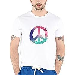Bewakoof Colors of Peace Men's Cotton Half Sleeve T-Shirt (Medium)