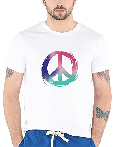 Bewakoof Colors of Peace Men's Cotton Half Sleeve T-Shirt (Medium)