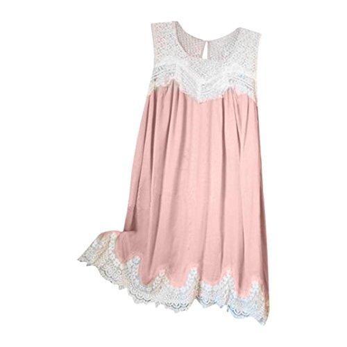 Daoroka Damen Weste ärmellos Spitze Naht Rüschen Saum Fashion Cute Tank Camis Tunika Top Bluse 4XL Rose Rose Druck Weste
