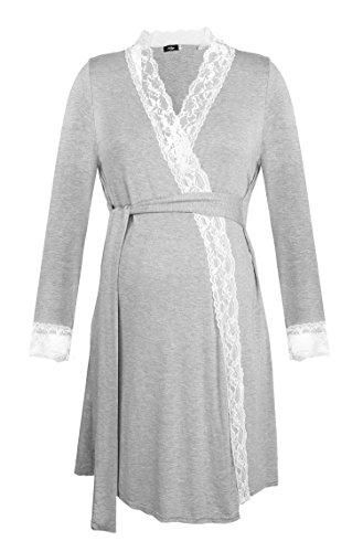 Dance fairy molliya camicia da notte premaman vestito con pizzo da donna per allattamento pigiama,grigio,m