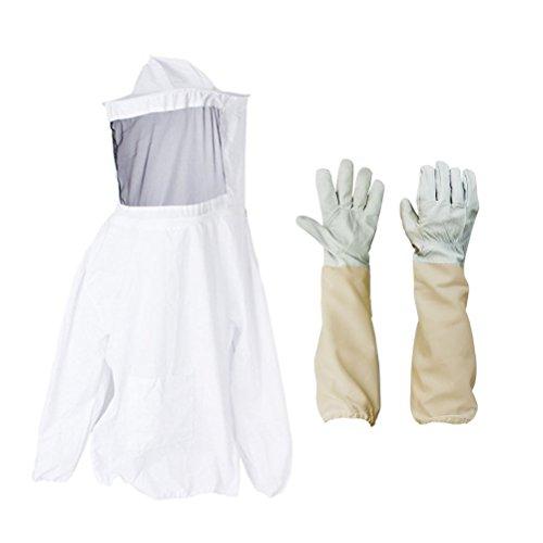 bestomz Schutz Bienenzucht Veil Smock Imker Anzug Mantel Jacke Ausrüstung mit Mütze...