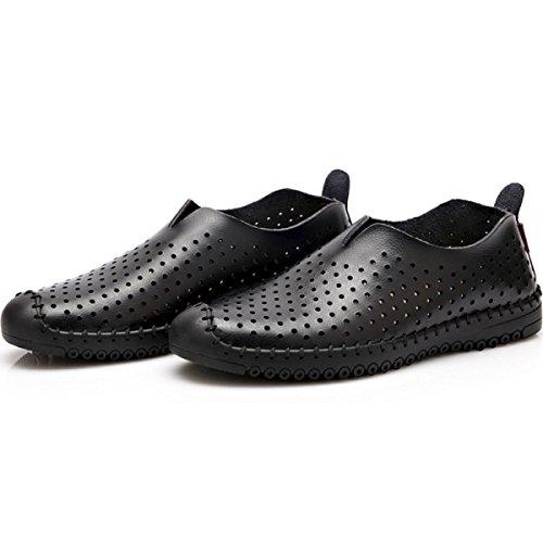 GRRONG Chaussures En Cuir Pour Homme Creux Confortable Noir Brown Black