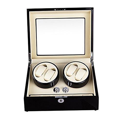 Asvert Uhrendreher Uhrenbox Uhrenbeweger Box Watch automatische Uhrenbeweger elegante Aufbewahrungsbox Box mit Vitrine, schwarz, 4 + 6 Positionen