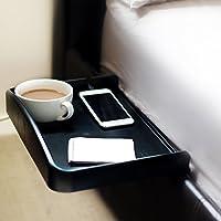 Nachttisch anklemmbar mit Becherhalter eingelassen, Kabelführung für Telefon- & Ladekabel & erhöhter Seitenwand, ideal für Studenten