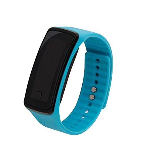 Los amantes de la moda deportes reloj de pulsera electrónica LED reloj de pulsera reloj unisex cielo Azul