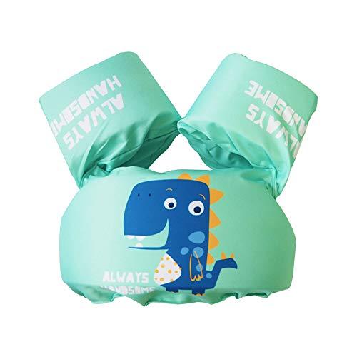Bili Schwimmflügel für Kinder Schwimmhilfe für Kleinkinder von 2-6 Jahre, 15-30kg Kinderschwimmweste für Jungen und Mädchen (Cyan-Dinosaurier)