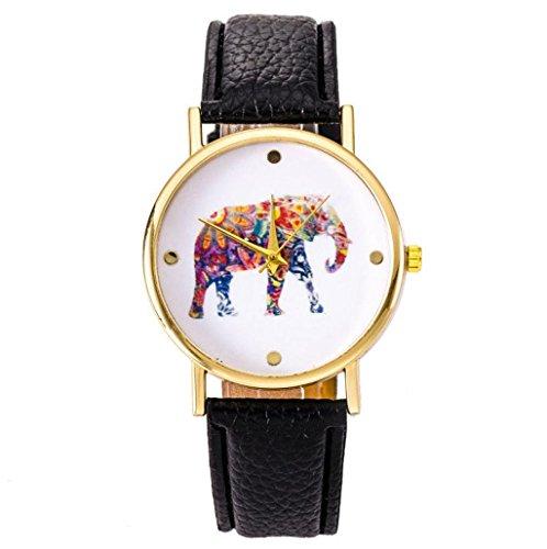 Sannysis® Nacional reloj viento elefante; Correa de cuero de cuarzo reloj de pulsera (negro)
