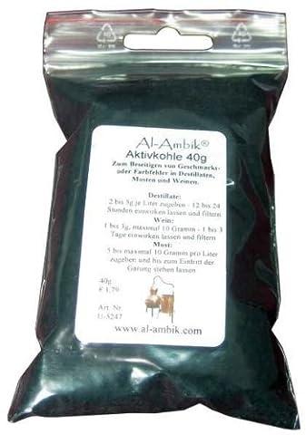 'MoonshinersChoice®' Aktivkohle 40 Gramm - zylindrische Partikel aus Kokos - für Bio- Lebensmittel geeignet - kann einfach pulverisiert