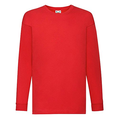 Fruit of the Loom - Kids Langarm T-Shirt Value Weight T 128,Red (Rote Pullover Mädchen)