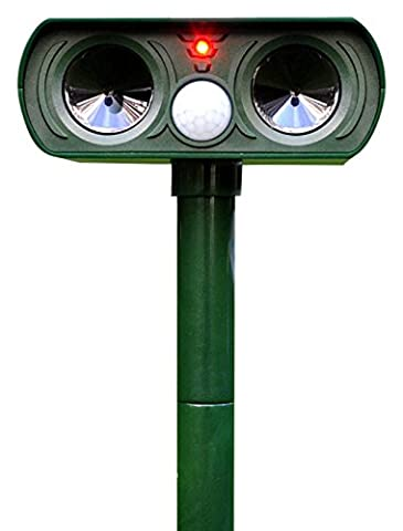 Ultrasonic Animal Repeller-Waterproof Solar Powered Dual Ultra Sonic Garden Pest Repeller with PIR Sensor Cat Dog Fox Animal Coverage Up To 1000 Square Meter