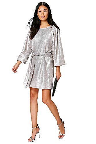 gris Femme Mya Sequin Belted Long Sleeve Shift Dress Gris