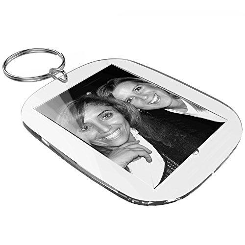 Acryl Schlüsselanhänger Sets zum selber machen 40 x 30 mm (10 Stk.) inkl. Druckbögen zum gestalten mit Foto, Namen, Bild