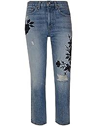 Rag & Bone Marilyn Embroidered Crop High Rise Jeans in Ramona blue