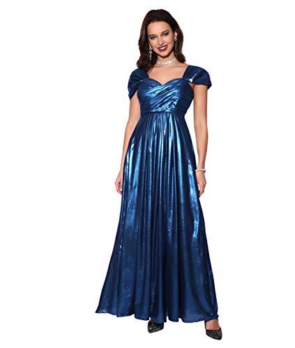 KRISP Damen Bodenlanges Metallic Abendkleid mit Herzausschnitt, Marineblau (3222), 38, ()