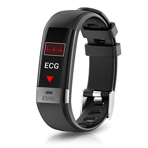 Audar EMBi Watch Fitness Armband mit ECG PPG Sportmodus Blutdruckmessung Pulsmesser Kalorien- & Schrittzähler Schlafmonitor Benachrichtigungsfunktion Farbdisplay IP67 Schutz für Damen Herren Kinder