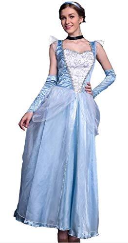 YiyiLai Schnee Königin Form Damen Halloween Party Kostüm Rollenspiel Bekleidung Halloween Kostüm Blau M (Schnee Königin Kostüm Halloween)