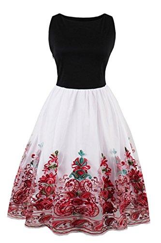 Damen 1960er Abendkleid Abschlussballkleid Blumenstickerei Knielang Rot (Jahre Party Kleidung 90er)