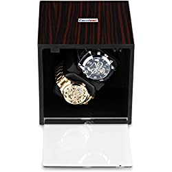 Excelvan Automatic Wood Watch Winder storages box Piano black Gloss 2+0 Black leather Watch Storage Display box case Brown