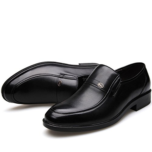 GRRONG Herren Lederschuhe Des Formalen Kleides Echtes Leder Atmungsaktiv Schwarz Black