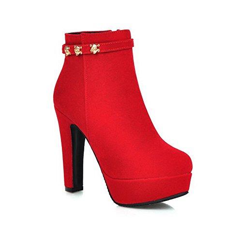 AllhqFashion Damen Hoher Absatz Mattglasbirne Niedrig-Spitze Rein Reißverschluss Stiefel, Kamel Farbe, 40
