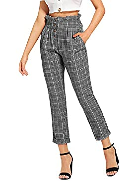 QinMM Pantalones a Cuadros de Ajuste de Volante Suelto para Mujer Pants Cintura Alta Botones