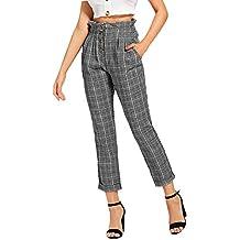 Pantalones Mujer Slim fit,Pantalones de Cintura elástica para Mujer Pantalones de Cuadros