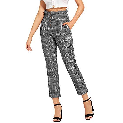 QinMM Pantalones a Cuadros de Ajuste de Volante Suelto para Mujer Pants Cintura Alta Botones, Gris, XL