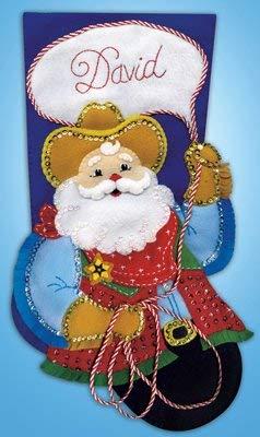 (Design Works Felt Applique Christmas Stocking COWBOY SANTA Craft Kit for Xmas)