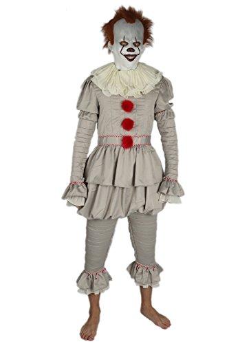 Halloween Kostüme Kinder 2017 (Halloween Clown Cosplay Kostüm Deluxe Outfit Herren full Suit mit Zubehör für Erwachsene Verrücktes Kleid)