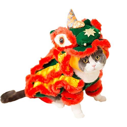 Kostüm Dance Lion - LCWYP Haustier Halloween Lustige Haustier Katze Kostüm Lion Dance Kleidung Für Kleine Hunde Chihuahua Yorkie Halloween Weihnachten Neujahr Party Maskerade Dress Up