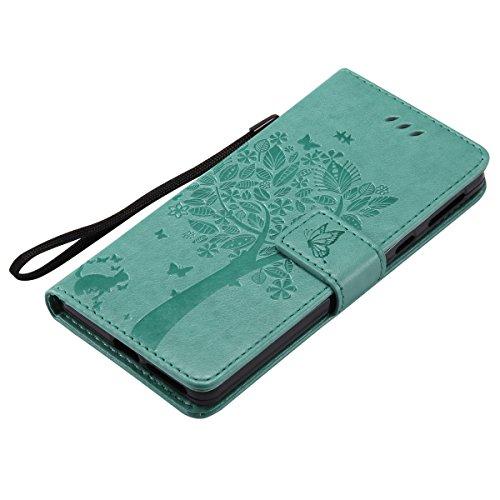 Custodia Xperia E5, ISAKEN Flip Cover per Sony Xperia E5 con Strap, Elegante borsa Tinta Unita Farfalla Design in Sintetica Ecopelle PU Pelle Protettiva Portafoglio Case Cover con Supporto di Stand /  Albero: verde