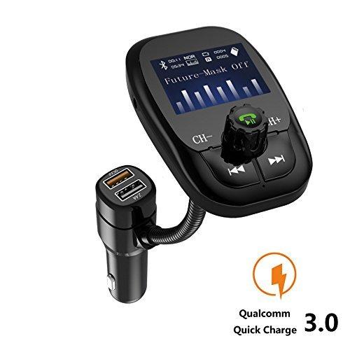 [2017Modèle Version améliorée] Voiture Bluetooth sans fil mains libres appel transmetteur FM Radio Adapter Car Kit USB chargeur rapide 3.0prise en charge USB Flash Drive Carte Micro SD Entrée Aux Noir