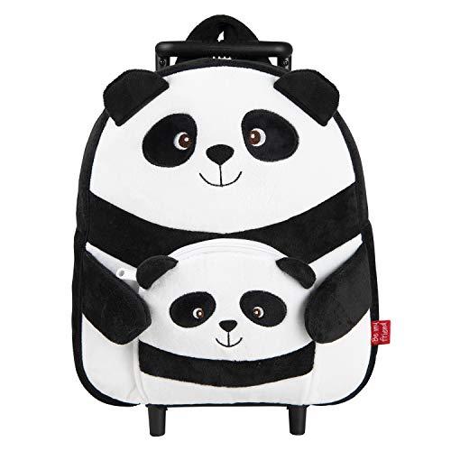 PERLETTI - Trolley Peluche Panda Nero Bianco Giocattolo da Bambino Bambina - Zainetto Scuola Asilo Bimba Bimbo con Ruote e Spallacci - Borsa Bagaglio da Viaggio - 29x33x11 cm (Panda)