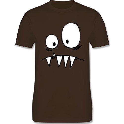 Karneval & Fasching - Monster Kostüm - L - Braun - L190 - Herren T-Shirt Rundhals
