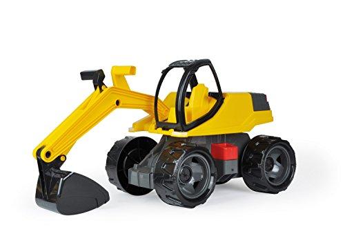 Lena 02141 - Starke Riesen Bagger, ca. 80cm, weiß / gelb, großes Sitzbagger Spielfahrzeug für Kinder ab 3 Jahre, robuster Schaufelbagger zum Draufsitzen, mit solider Tragkraft und funktionierender Schaufel für Sandkasten, Strand und Kinderzimmer