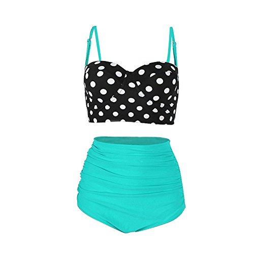 Honestyi Frauen-Weinlese-Bikinis-Badeanzüge Retro Halter Underwired Sexy Swimwear