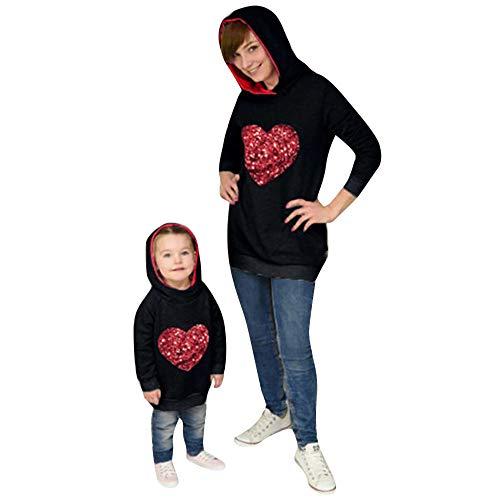 Familie Kleidung Dasongff Mama und Mich Pullover Hoodie Set Sweatshirt Kapuzenpullover Herzform Pailletten Hoodies Longshirt Outwear Kapuzenpulli