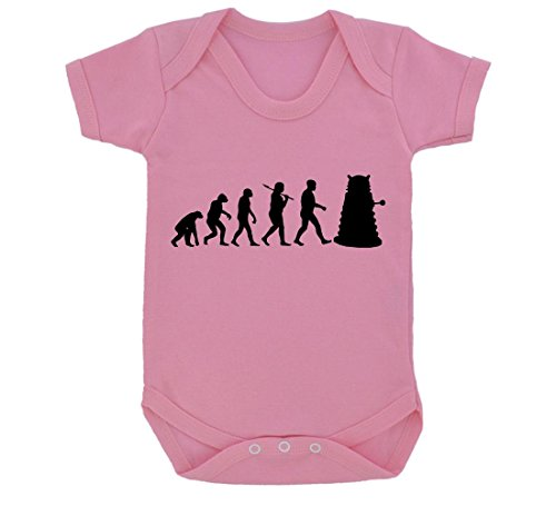 Evolution of a Cyborg Mutant Design Baby Body Baby rosa mit schwarz print Gr. 6-12 Monate, rose