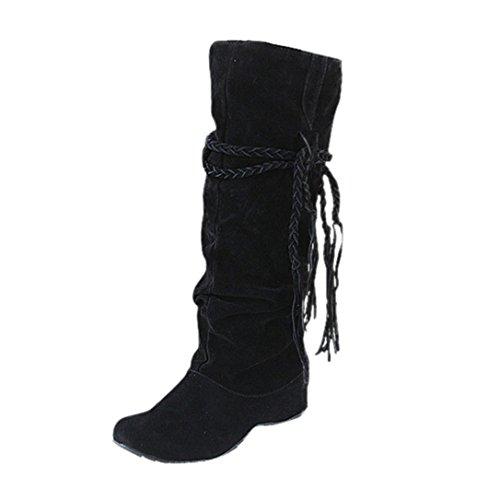 Schwarz Leder Damen Nieten-heels (Stiefel Damen Halbschaft Stiefel Sonnena Motorrad Schuhe Frauen Knöchelhohe Stiefel Wildleder Blockabsatz Boots Quaste Skidproof Gummi Stiefel Warm Gefütterte Schneestiefel (39, Sexy Schwarz))
