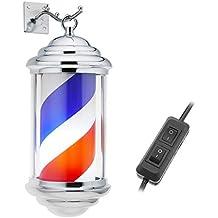 PrimeMatik - Poteau de barbier Lumineuse et pivotante pour Coiffeurs 150 x 350 mm Mini