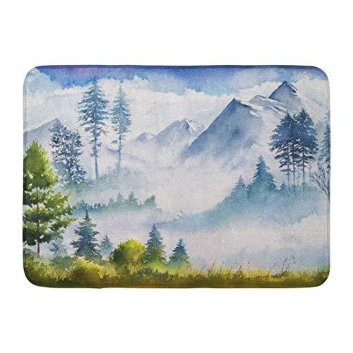 Soefipok Fußmatten Bad Teppiche Outdoor/Indoor Fußmatte blau Berg Aquarell Landschaft grün Malerei Natur Baum Wald Badezimmer Dekor Teppich Badematte - Natur-badezimmer-teppich