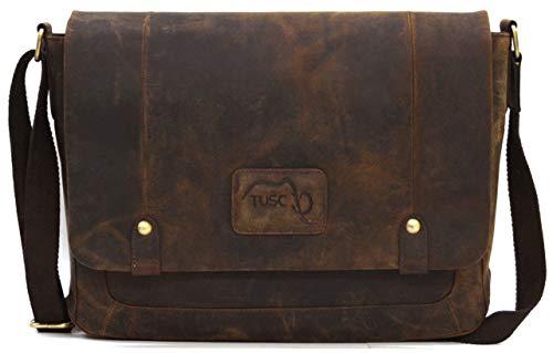 TUSC Charon Braun Leder Tasche Vintage Laptoptasche 15,6 Zoll 14 Zoll Herren Damen Unisex Umhängetasche Aktentasche Schultertasche für Büro Notebook Messenger Bag Laptop iPad, 38x28x9cm -