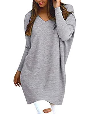 Style Dome Women's Sexy Oversized Jumper Shirt Dress Long Sleeve Tops Plus Size Sweater Pullover Sweatshirt