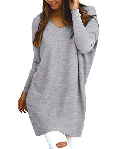 StyleDome Women's Sexy Oversized Jumper Shirt Dress Long Sleeve Tops Plus Size Sweater Pullover Sweatshirt