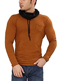 Tees Collection Men's Cotton Full Sleeve Mustard Color Hooded T-Shirt