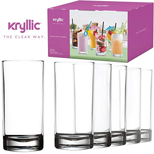 4c0b0df9067d Plastic Tumbler Cups Drinking Glasses - Acrylic Highball Tumblers Set of 6  Clear 16 oz Unbreakable Reusable Kitchen Drinkware Dishwasher Safe Bpa Free  Hard ...
